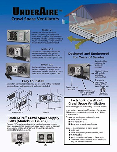 Tjernlund V1D UnderAire Crawlspace Ventilator Fan Moisture Mold Reducing