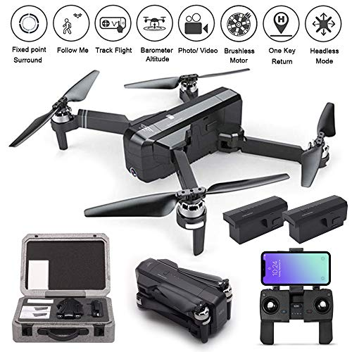 PinPle SJRC F11 GPS Drone 5G WiFi FPV RC Quadcopter Drone Foldable 1080P Camera Record Video App Control iOS Android One-key RTH Follow Me 3D Visual Brushless Motor Track Flight Headless 2 Battery+Box