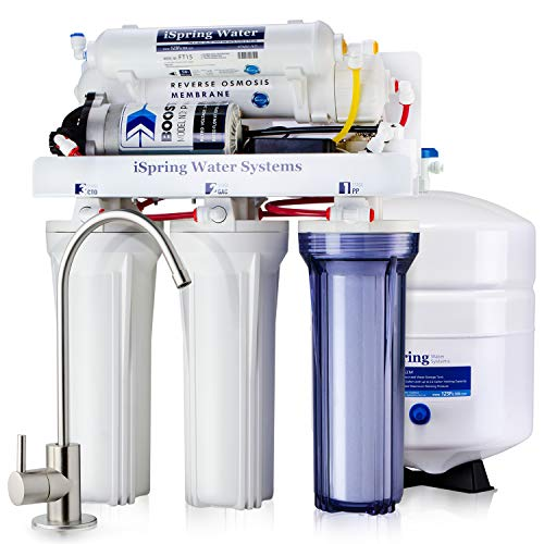 iSpring RCC7P Performance-boosted Under Sink 5-Stage Reverse Osmosis Drinking Water Filtration System with Pump and Ultimate Water Softener