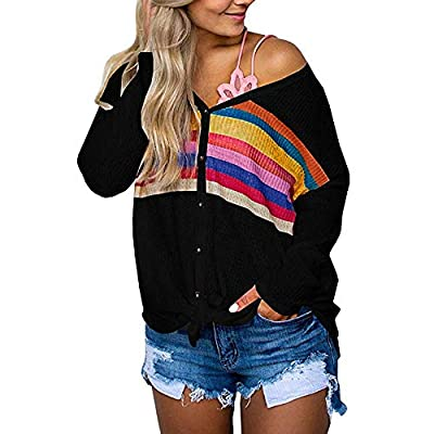 GOVOW Red Henley Shirt Women Multicolor Striped Print Long Sleeve Button Down Tie Tops