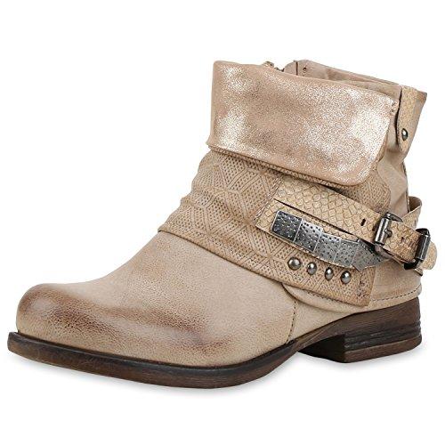 napoli-fashion - botas estilo motero Mujer Beige