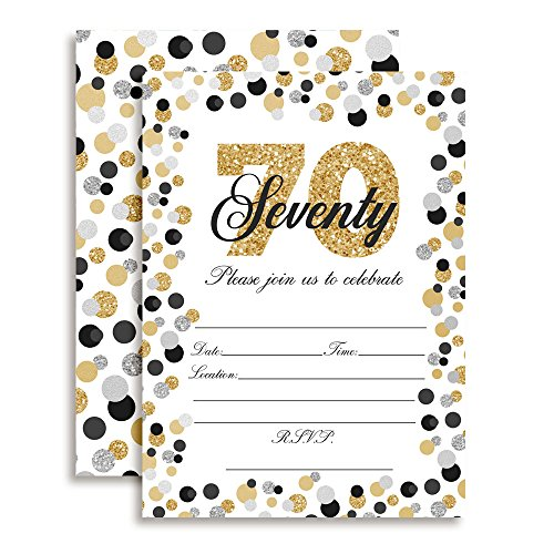 Confetti Polka Dot 70th Birthday Party Invitations, 20 5