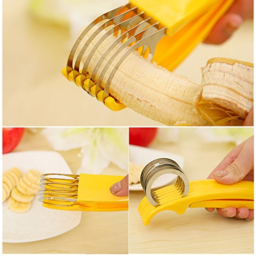 Ieasycan 5.54.518cm Banana Slicer Chopper Fruit Cutter Cucumber Salad Vegetable Peeler ABS + Stainless Steel Slicer Tool Home Cooking Tool