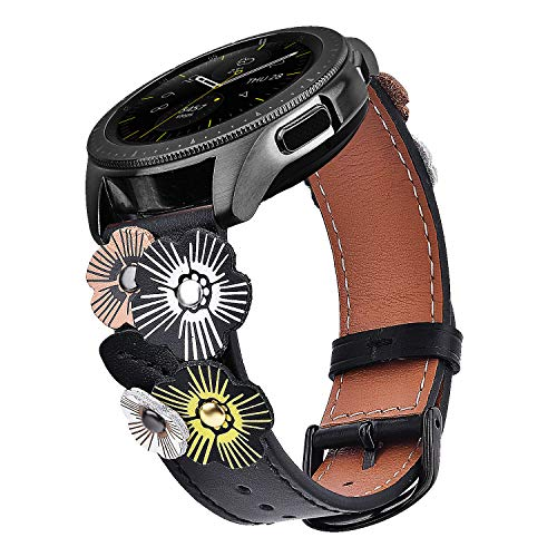 - V-MORO Leather Strap Compatible with Galaxy Watch 42mm Bands/Active 40mm Band Women 20mm Fashion Flower Wristband with Black Buckle for Samsung Galaxy Watch 42mm R810/Galaxy Watch Active 40mm R500