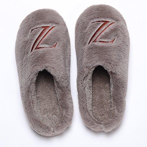 LaxBa Femmes Hommes chauds dhiver Chaussons peluche antiglisse intérieur Cotton-Padded Slipper Chaussures couleur sombre42-43 (41-42 mètres)