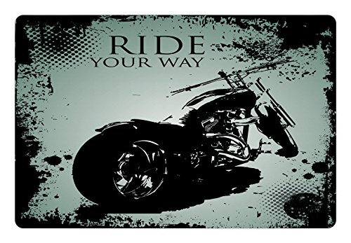 Splatter Motorcycle - Lunarable Vintage Pet Mat for Food and Water, Retro Motorcycle with Black Dots and Splatters Chopper Road Trip Artwork, Rectangle Non-Slip Rubber Mat for Dogs and Cats, Black and Pale Blue