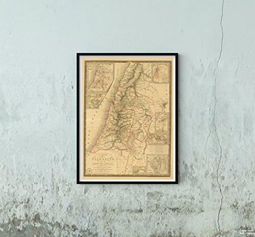 1838 Map World Atlas Palestine Sous la Domination Romaine Historic Antique Vintage Reprint Size: 18x24 Ready to Frame