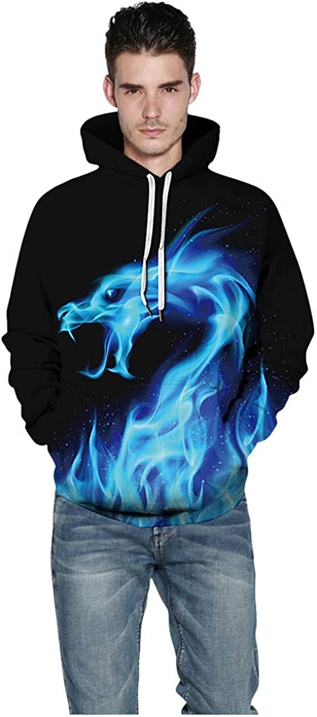Unisex Long Sleeve Pullover Hooded Shirts Landscap 3D Graphic Printed Hoodies for Men Women