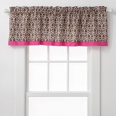 Bacati Damask Pink and Chocolate Window Valance