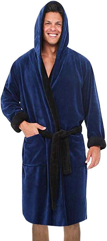 Mensera Herren Flanell Bademantel mit Kapuze Kontrastfarbe Flauschige Fleece Hausmantel Saunamantel Homewear Morgenmantel