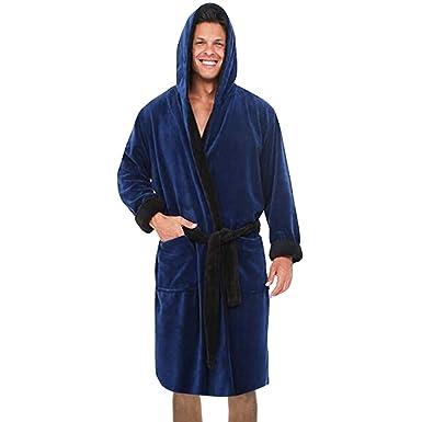 8c44c05bbf2ec Peignoirs De Bain Hommes LHWY Ensembles De Pyjama Hommes Hiver Pleine  Longueur en Fausse Polaire Peignoir