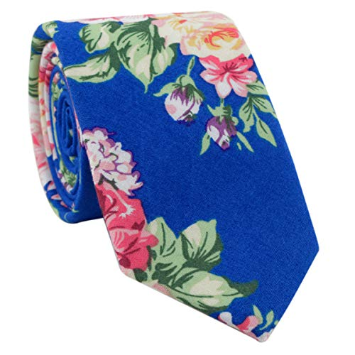 Cotton Skinny Pink Floral Print Novelty Tie for Special Event, Party, Wedding Mens Big Boys Women -