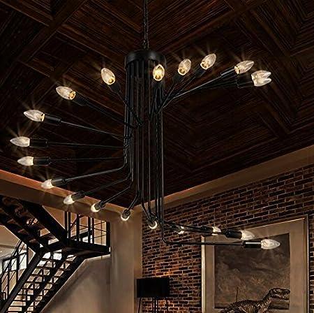 SDKKY Escalera de caracol retro candelabros candelabros de hierro forjado loft tienda de ropa simple y creativo salón bar cafetería el colgante de 800 * 660mm: Amazon.es: Bricolaje y herramientas