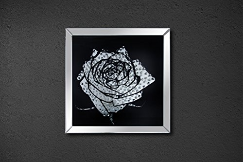 ACME Furniture Nevina Wall Décor, Mirrored and Crystal Rose - glass rose flower wall art