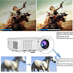 "200"" Home Theater Projector 1080p 720p, Video Projector Full HD 3600 Lumens 50,000hrs LED Lamp, Indoor Outdoor Movie Projector for iPhone Smartphone TV DVD XBox PC Laptop Blue Ray Player"