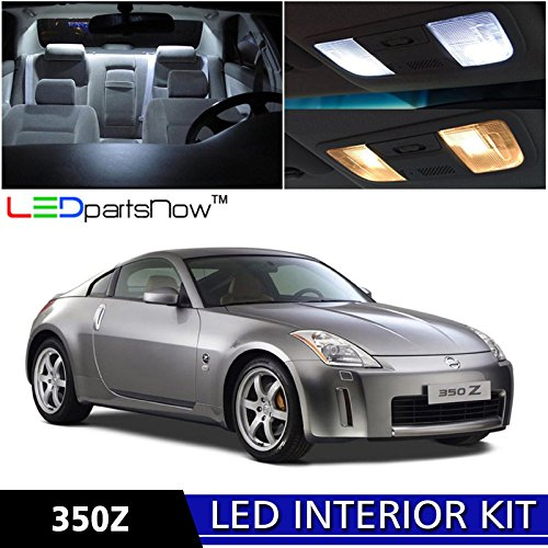 LEDpartsNow Nissan 350Z 2003-2008 Xenon White Premium LED Interior Lights Package Kit (5 Pieces) + Install - Anniversary 350z Nissan