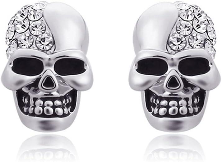 Cute Women Mexican Sugar Skull Rose Shiny Rhinestone Gold Stud Earrings Gift