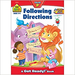 School Zone Following Directions Workbook Age 3 To 5 Preschool