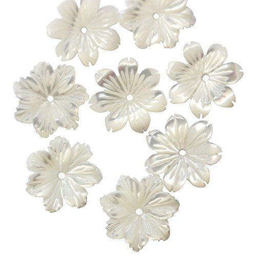 Shell Flower Clasp (6pcs Natural White sea shell flower 10mm DIY Jewelry Making Beads)