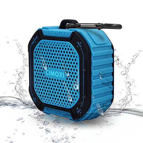 CIMOXI Bluetooth Shower Speaker Y1, Portable Bluetooth V4.2 Speaker Waterproof IPX4 Wireless Speaker with 5W Output, Suction Cup, Handsfree Speakerphone with Built-in Mic and 8 Hours Playtime-Blue by CIMOXI