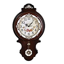 Graces Dawn 21.5'' Foldable Light-weight Antique Retro Elegant Decorative Clocks Ultra Mute Silent Quartz Movement Wall Clock with Swinging for Kitchen Living Room Home Decoration (brown)