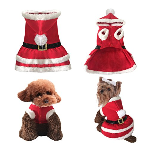 [Yoption Pet Puppy Dog Christmas Clothes Santa Claus Costume Outwear Coat Apparel Hoodie (M)] (Dog Outfits For Christmas)