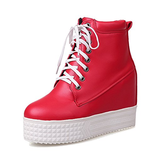 WeiPoot Boots High top Toe Low Women's Material Red Closed Soft Heels Round Solid qP6PxIzwr