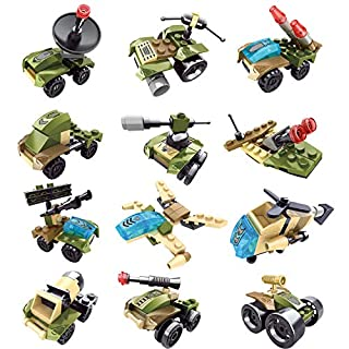 12Pcs Easter Eggs with Toys Inside for Easter Basket Stuffers, Mini Militaryl Building Blocks for Kids Easter Gifts, Easter Egg Fillers, Easter Party Favors