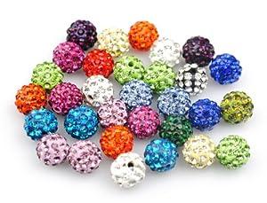 Yuan mutang 10mm 100pcs/Lot Mixed Color Clay Pave Disco Rhinestone Crystal Shamballa Beads