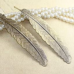 Hybsk(TM) Classical Delicacy Feather Metal Bookmarks