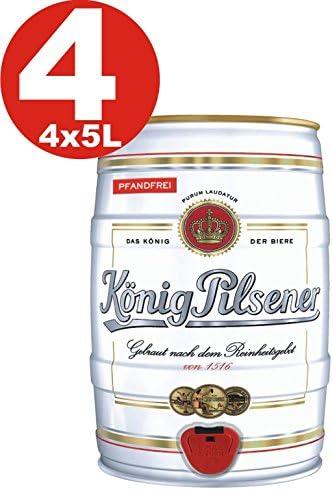 4x Koenig Pilsener 5 Liter barril de fiesta 4,9% vol König