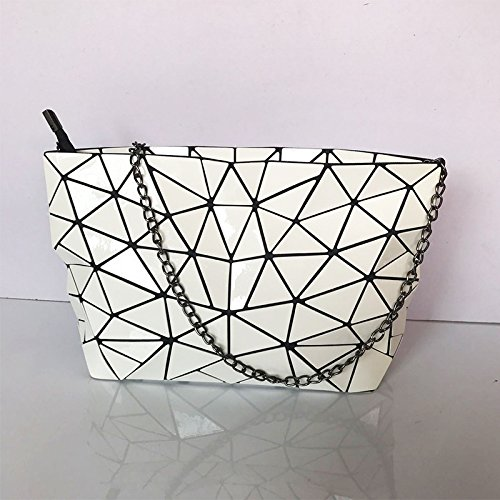 Geometric Silver Meoaeo Xiekua Bag White Chain Fashion Package Shoulder Leather Bag Fw07ndq7x