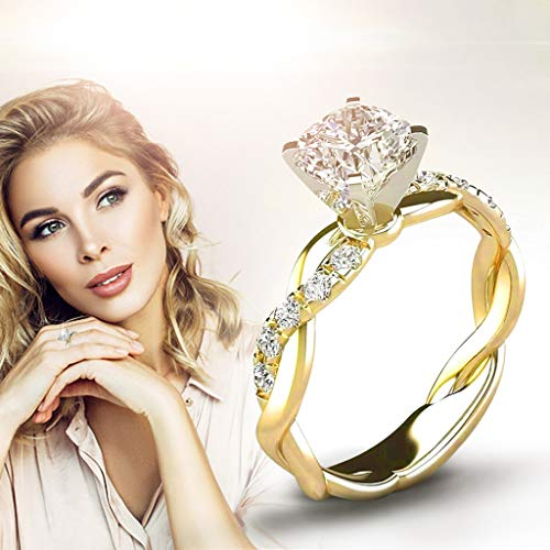 Damen Schmuck Ringe Crystal Rings Shiny Women Rings Silberringe Trauringe Damenring Antragsring Ringe Stilvolle Ringe für Frauen (B, 16.5)