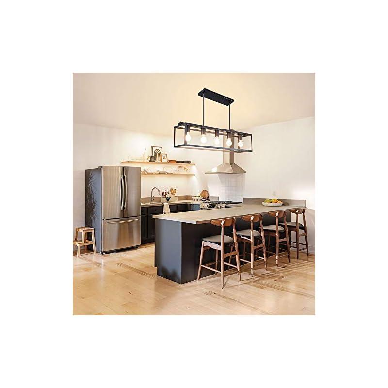 Depuley 5-Light Farmhouse Linear Light Fixture Chandelier, Vintage Island Light Fixtures, Rectangular Metal Cage Table…