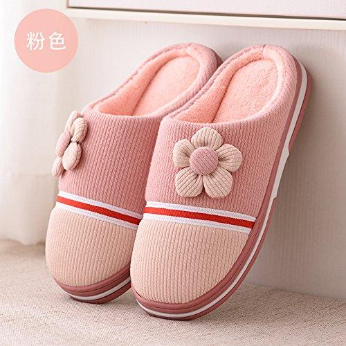 Inverno fankou pantofole di cotone matura in autunno e inverno caldo carino fondo spesso pantofole di uomini e donne home metà pack con cotone pantofole, 35-36 [adatto per usura 34-35], rosa