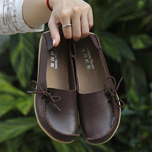 cordones Café aire Antideslizante Mujer Chícharos Suave Carta Al Casual Zapatos Plano Con libre letter Zapatos pqYfTww