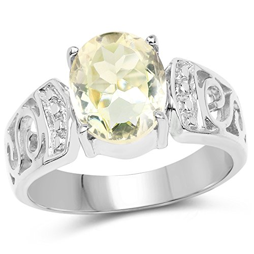 Bonyak Jewelry Genuine Oval Lemon Quartz Ring in Sterling Silver - Size - Lemon Oval Quartz Ring