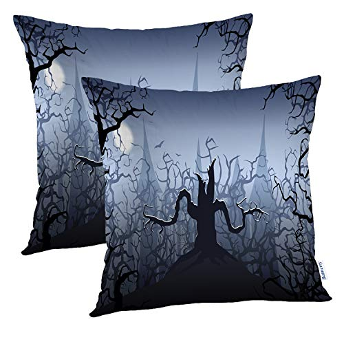 (Batmerry Halloween Pillow Covers 18x18 inch Set of 2,Halloween Scary Tree Castle Horror Evil Scene Spooky Spider Dark Throw Pillows Covers Sofa Cushion Cover)