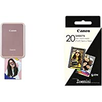 Canon - Pack Zoemini Imprimante Photo Portable Rose + Pack de 20 Feuilles Papier Photo