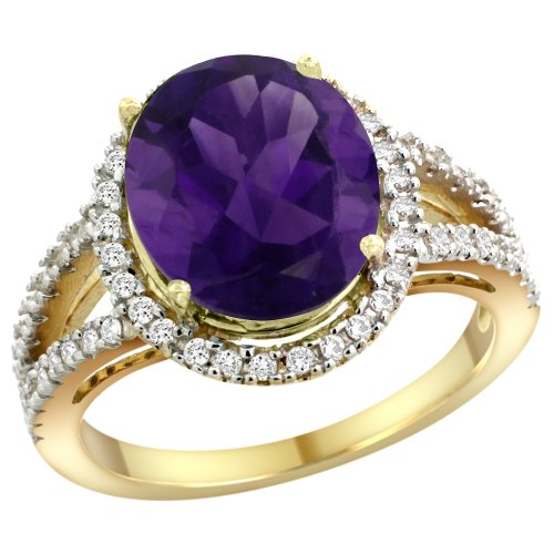 14k Yellow Gold Natural Amethyst Ring Oval 12x10mm Diamond Accents, size 10