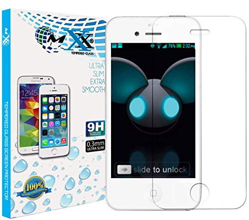 MXX Shatterproof Premium Tempered Glass Screen Protector Hd Clarity for iPhone 4s/4/4g - (2-Pack)