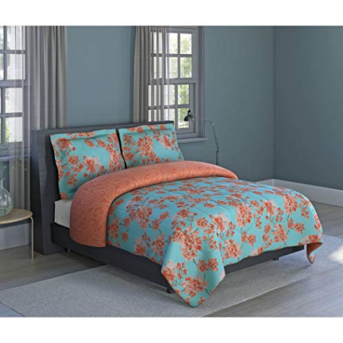 D.I.D. 3 Piece Sky Blue Coral Orange Japanese Flower Blossom Themed Comforter Full Queen Set, Vibrant Small Floral Print Bedding, Bright All Over Multi Flowers Reversible Paisley Pattern, Microfiber (Print Small Bedding Floral)