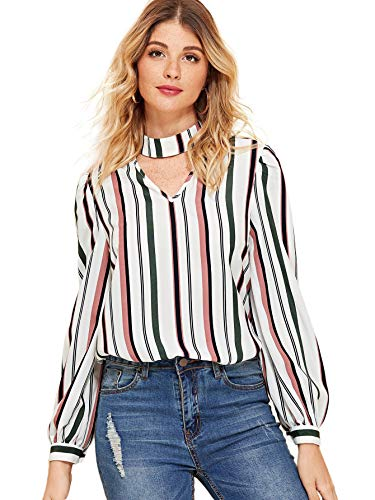 Floerns Women's Choker V Neck Stripe Lantern Long Sleeve Blouse Multi-1 XS