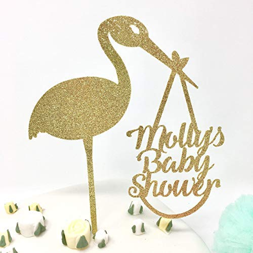 (Personalised Delivery Stork Baby Shower Cake Topper. Name'S Baby Shower Cake Decor. Baby Boy Shower Cake Topper, Baby Girl Shower Idea.)
