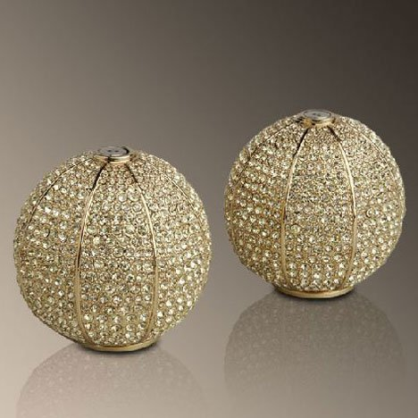 L'objet Gold Plated Pave Sphere Salt and Pepper Shaker with Yellow Crystals