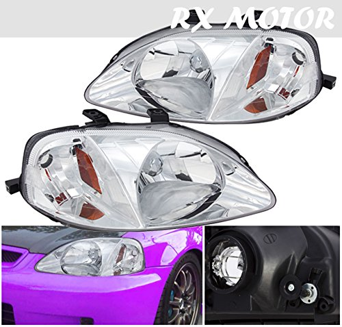(1999 2000 Honda Civic EK EM1 Direct Replacement Headlight Assembly Lamps With Corner Signal Amber Lights)
