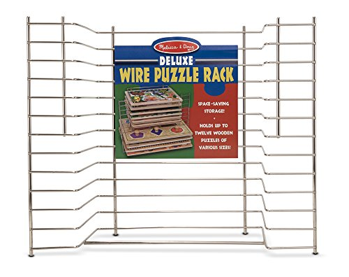 Melissa & Doug Deluxe Metal Wire Puzzle Storage Rack for 12 Small and Large (Wooden Metal Puzzles)
