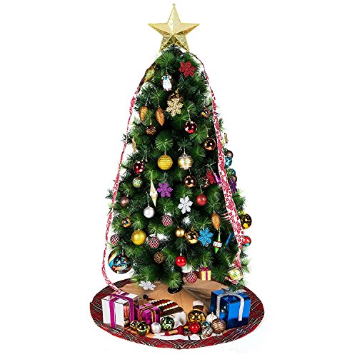 iPEGTOP 42'' Christmas Tree Skirt - Santa Xmas Tree Skirt Holiday Decoration Ornaments Camel Non-woven & Tartan Border by iPEGTOP (Image #4)
