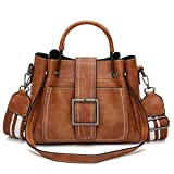 Kimloog Women's PU Leather Shoulder Cross Body Bags Multi Purpose Retro Tote Handbags (Brown)