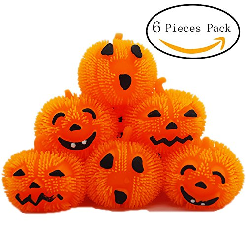 Halloween LED Expression Fleece Ball Pumpkin Lantern Light Lamp Holiday Party Decor Scary Light 6PCS(Orange)